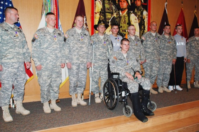 Wounded Soldiers Receive Purple Hearts