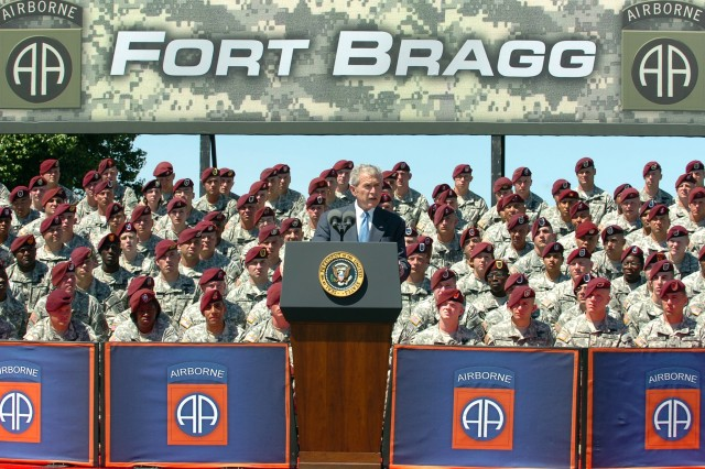 "President George W. Bush addresses the Paratroopers, veterans, and families of the 82nd Airborne Division, thanking ""America's Guard of Honor"" for its collective accomplishments in Iraq and Afghanistan."