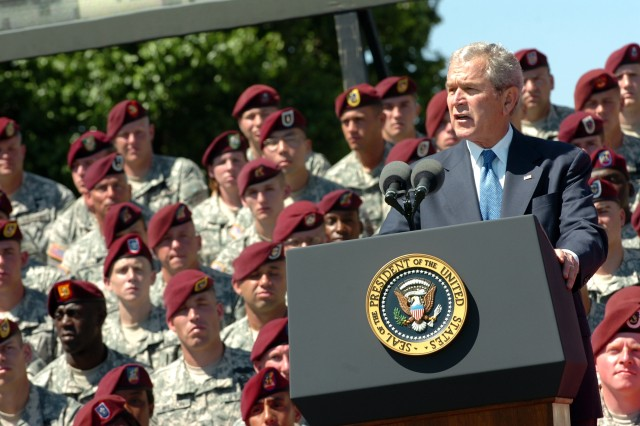 """President George W. Bush addresses the Paratroopers, veterans, and families of the 82nd Airborne Division, thanking """"America's Guard of Honor"""" for its collective accomplishments in Iraq and Afghanistan while attending the Division Review held on Pike Field at Fort Bragg, N.C., May 22."""