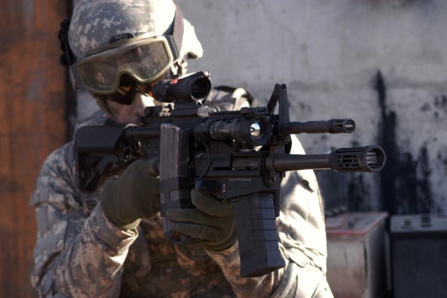 The Army expects to field 35,000 M-26 12-guage modular accessory shotgun systems in the fall to infantry, MPs and Special Forces operators in theater. The MASS was designed to attach to an M-16 or M-4 but also comes with a collapsible stock to be used as a stand-alone weapon.