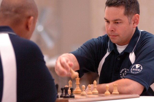 Sgt. Chris Drake of Fort Bragg, N.C., finishes second in the 2008 All-Army Chess Championships May 16 at Fort Myer (Va.) Community Club. He won the speed-chess competition.