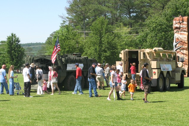 Partners General Dynamics, Anniston Army Depot, Ala., and Defense Contract Management Agency are on hand to show the Stryker and MRAP vehicles at the May 17 Armed Forces Day at Fort McClellan.
