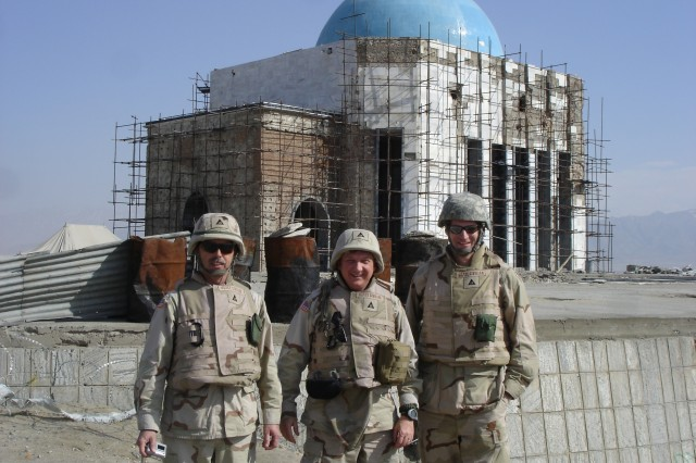 Paul Lawrence, Randy Bright and Chris Keiser are pictured in front of the Royal Tomb in Kabul, Afghanistan in March. Bright, a depot engineer, deployed to Afghanistan last year to work with the U.S. Army Corps of Engineers.
