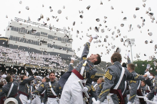"The 972 newly commissioned second lieutenants of the U.S. Military Academy Class of 2008 toss their hats after being given the command ""Class dismissed"" at the 210th graduation ceremony held at West Point, N.Y. May 31."