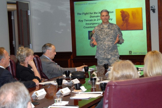 Maj. Gen. Anthony Cucolo, chief of Army Public Affairs, speaks to the World Presidents' Organization, Chicago Chapter, about communications warfare at the Pentagon Fly-in visit, May 30, 2008. Nine business leaders from the Chicago area and their spouses visited the Pentagon to learn more about the Army and the challenges the Army faces.