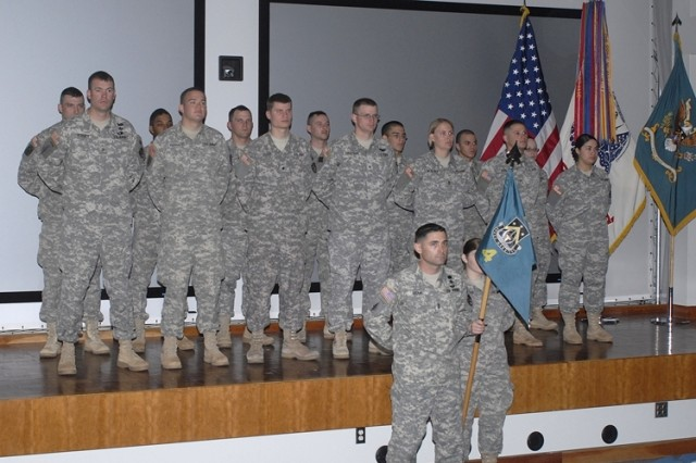 1st Sgt. Doug Bram stands proud with the Soldiers of the 4th Space Company during an Apr. 17 ceremony that gave command of the company to Maj. Randy Wheeler (not pictured).
