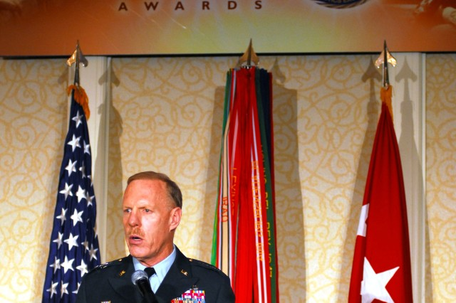 Lt. Gen. Stephen M. Speakes, deputy chief of staff, G-8, spoke to the Soldiers and Army civilians gathered June 3 at the Army's Combined Logistics Excellence Awards.
