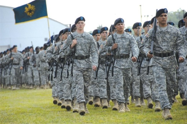 Soldiers march during a pass in review at the Combined Arms Support Command change of command ceremony held June 3 at the 23rd QM Brigade sports field, Fort Lee, Va.