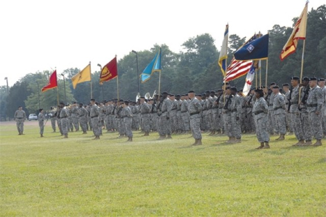 Troops stand in formation during the CASCOM change of command ceremony held June 3 at the 23rd Quartermaster Brigade sports field.