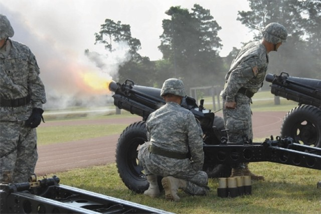 Soldiers of the Fort Lee Salute Battery fire off rounds during the CASCOM change of command ceremony held June 3 at the 23rd Quartermaster Brigade sports field.