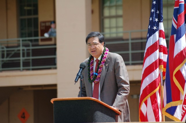 Mayor Mufi Hannemann of the City and County of Honolulu addresses those in attendance at the 2008 Asian-Pacific Heritage Month Observance held on Schofield Barracks, May 29th. This years theme at the event was leadership, diversity, harmony and gateway to success.