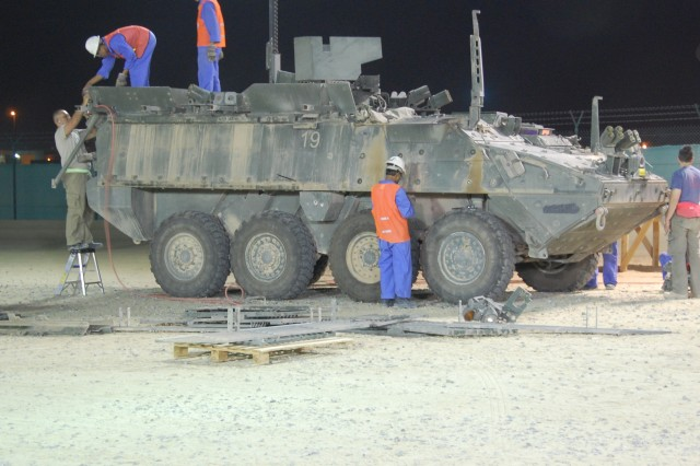 A Stryker Combat Vehicle from 4th Brigade Combat Team, 2nd Infantry Division, is readied for an Advanced Technical Assessment and trip to the wash rack at Camp Arifjan, Kuwait, June 4, 2008.