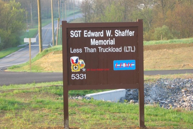 The sign outside the new less-than-truckload facility dedicated to Sgt. Edward W. Shaffer.