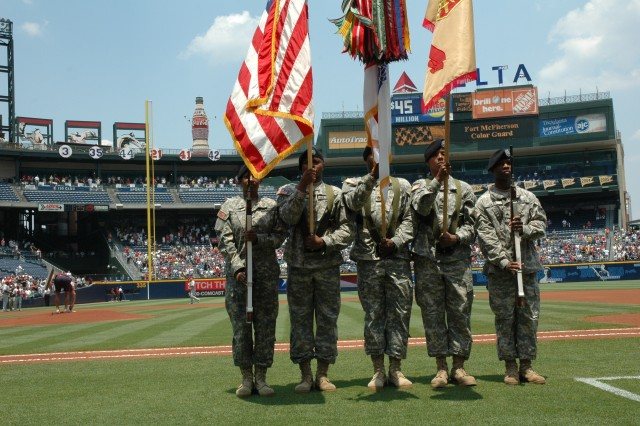 The U.S. Army Garrison Color Guard, Fort McPherson, Ga., presented the national colors at the Atlanta Braves vs. Philadelphia Phillies, June 8 at Turner Field in Atlanta. The five-member team includes Staff Sgt. Trina Tyus, Sgt. 1st Class Calvin Hood, Staff Sgt. Gregory Reid, Spc. Letisha Crawford and Sgt. Aubrey Clay. The Braves celebrate the Army's birthday annually at a home game close to June 14.
