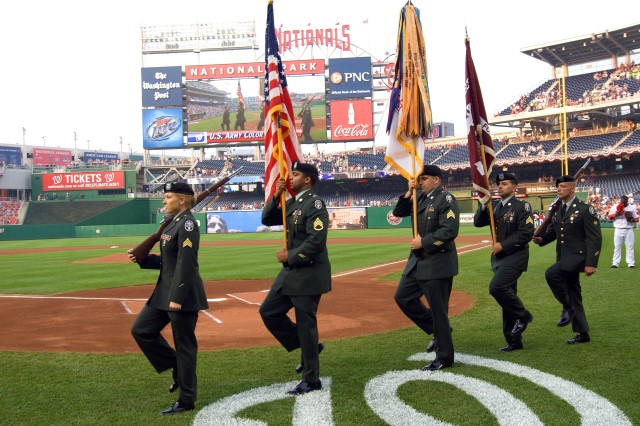 """Members of the Army Color Guard presented the flag during opening events prior to the June 6 game between the Washington Nationals and the San Francisco Giants at Nationals Park, Washington, D.C. The evening was billed as """"Army Night"""" at the"""