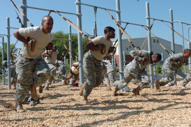 Soldiers work the muscular endurance and power of their quadriceps with the TRX sprinter's start exercise during a train-the-trainer clinic at Fort Bragg, N.C. The Army Family and Morale, Welfare and Recreation Command purchased 3,205 of the exercise systems to be distributed through a pilot program at Fort Bragg and to include in recreation kits headed to troops in Iraq and Afghanistan.