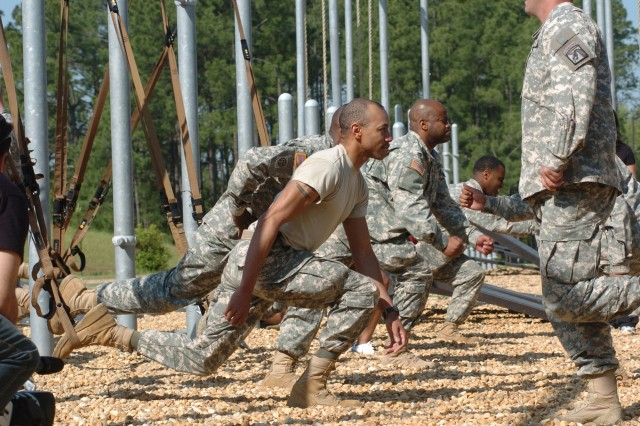 Soldiers from the 82nd Airborne Division engage in suspended lunge exercises with TRX Suspension Trainer Force Training Kits at Fort Bragg, N.C. The Army Family and Morale, Welfare and Recreation Command purchased 3,205 of the systems to be distributed through a pilot program at Fort Bragg and to include in recreation kits headed to troops in Iraq and Afghanistan.