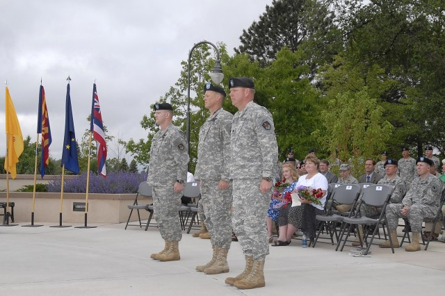 The Medal of Honor Park at the Peterson Air Force Base Museum served as the backdrop of a Change of Command ceremony for the 53rd Signal Battalion (SATCON) on June 4. From left to right, outgoing 53rd Signal Battalion Commander, Lt. Col. Scott M. Geiger, Sr., 1st Space Brigade Commander, Col. Timothy R. Coffin, and incoming 53rd Signal Battalion Commander Lt. Col. Patrick L. Kerr prepare to take part in the traditional ceremony before a group of senior officials and guests. The 53rd Signal Battalion is the oldest operational battalion in the 1st Space Brigade and the only unit in the Department of Defense that conducts payload and transmission control of the Defense Satellite Communications System and Wideband Global System satellite constellations.
