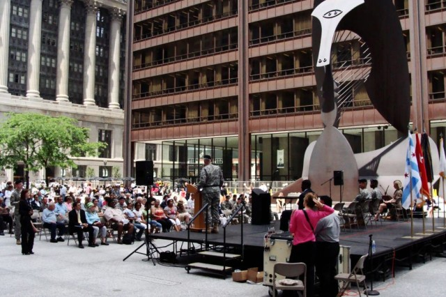 Maj. Gen. Peter S. Cooke, commanding general of the U.S. Army 96th Regional Readiness Command, addresses attendees at the Army's 233rd birthday celebration at Daley Plaza, Chicago, June 11.