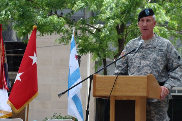Maj. Gen. Peter S. Cooke, commanding general of the U.S. Army 96th Regional Readiness Command, speaks at an observance of the Army's 233rd birthday at Daley Plaza, Chicago, June 11.