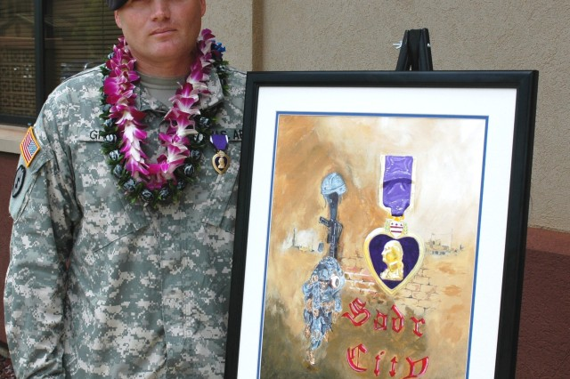 """Schofield Barracks, Hawaii - Sgt. 1st Class Willie S. Grimes, tanker, 1st Battalion, 14th Infantry Regiment """"Golden Dragons,"""" 2nd Stryker Brigade Combat Team, stands with a painting he painted after he was awarded a Purple Heart at a ceremony in front of 1-14th Battalion Headquarters Schofield Barracks, June 6. Grimes received the award for wounds he sustained from an improvised explosive device while serving as a sniper during a mission in Sadr City, Iraq, last April."""