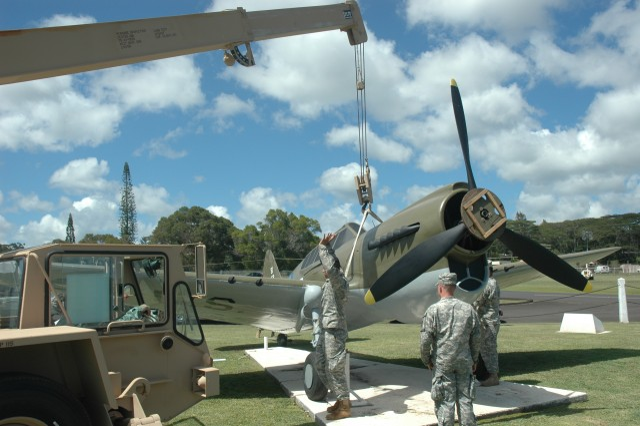 Historic P-40 aircraft returns to 'action' near Kawamura Gate