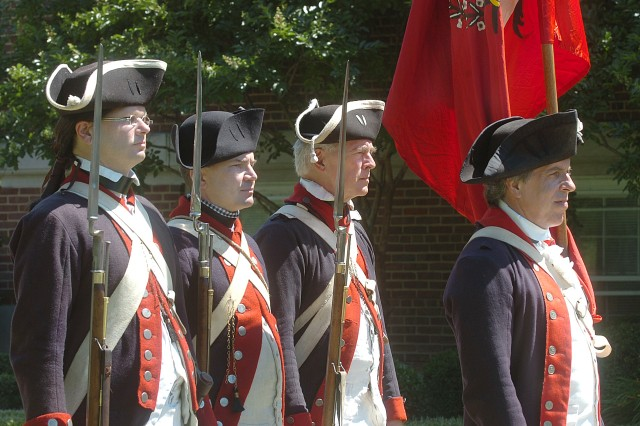 The 1st Virginia Regiment color guard participate at Fort Belvoir's 233rd Army Birthday celebration today
