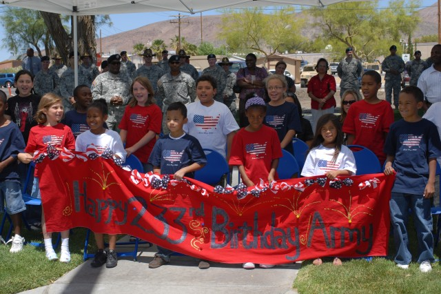 The National Training Center and Fort Irwin celebrated the U.S. Army's 233rd birthday June 12 with a post-wide fun run and a cake cutting ceremony. Young Army Family members from the post's Child Development Center sang a special Army birthday song at the cake cutting ceremony.