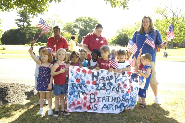 HAPPY BIRTHDAY! -- To help the Army celebrate its 233rd birthday, students from the Fort Dix Child Development Center joined in a parade to Wurman Hall June 12 at Fort Dix. (photo by Ed Mingin, Fort Dix Public Affairs)