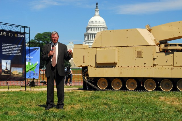 Senator Jim Inhofe (Okla.) spoke to members of the press, June 11, on the National Mall, Washington, D.C. The senator's appearance coincided with the unveiling of the first prototype of the Non-Line of Sight Cannon. The NLOS-C is part of the Army's Future Combat Systems, and was one of several pieces of FCS hardware on display at the Mall. A total of eight NLOC-S prototypes will eventually be delivered to Yuma Proving Grounds, Ariz., by 2010.