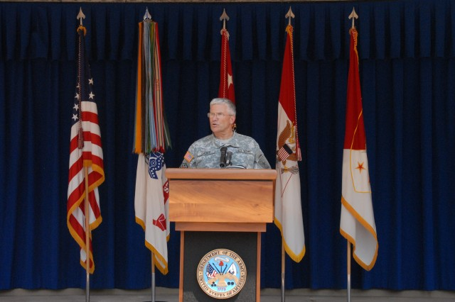 Gen. George Casey Jr., Chief of Staff of the Army, speaks at the Army birthday cake-cutting ceremony at the Pentagon on June 13.