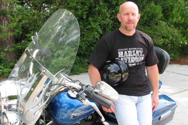 Besides visiting with his family and friends, National Guard Sgt. 1st Class Joe Cox enjoys the time he has spent riding his Harley Davidson motorcycle while on his two-and-a-half week leave from his deployment in Kuwait.