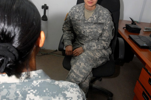 Members of the Combat Stress Controls team, such as Pfc. Leanna M. Goodrum, continue suicide prevention training and counseling after a Soldier commits suicide to help the unit cope.