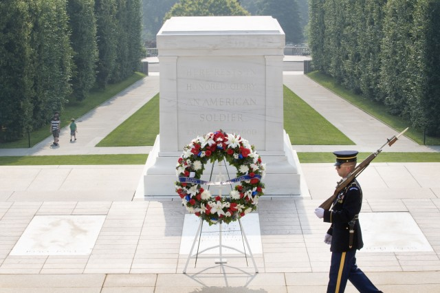 A Soldier with 3rd Infantry Regiment guards the Tomb of the Unknowns.