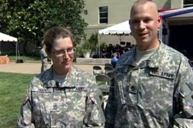 Sgt. 1st Class Margaret Hood and Staff Sgt. Mark Hood, re-enlistees.