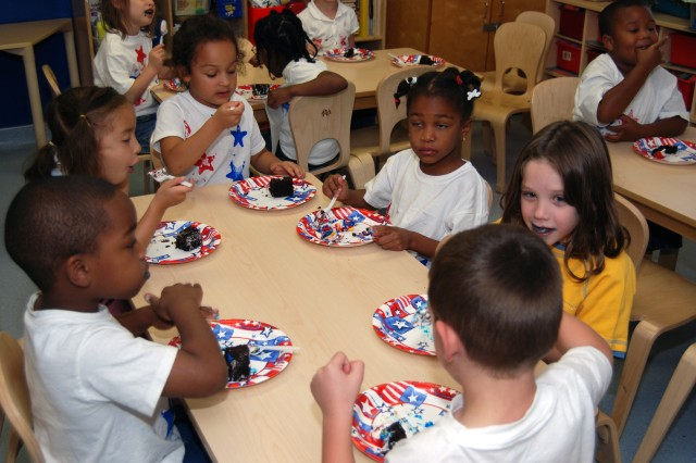 Fort Bliss children in the all the Child Development Centers, School Age Services and the Middle School and Teen Programs celebrated the Army's 233rd Birthday with cakes decorated as American flags, which were provided by Child and Youth Services.