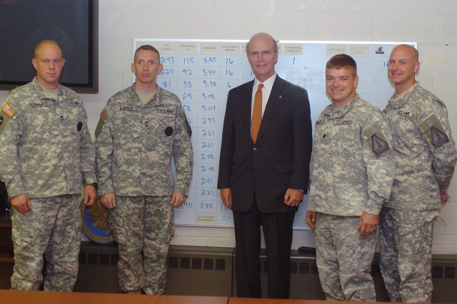"Secretary of the Army Pete Geren stands proudly with members of the Minnesota National Guard Recruiting and Retention Battalion (left to right) Master Sgt. John Schwartz of Woodbury, Minn.; Master Sgt. David Eustice of Janesville, Minn.; Lt. Col. Jacob Kulzer of Brooklyn Center, Minn.; and Maj. Stephen Burggraff of Centerville, Minn., during the Secretary's visit to the State Capitol building for the Minnesota Army Family Community Covenant signing ceremony, June 16. The Battalion exceeded its annual National Guard Bureau mission of 1,352 enlistments in March, resulting in a historical record-breaking year in production. This production year also introduced the ""Active First"" program and Minnesota has been leading the way.  The month of May resulted in the battalion achieving their assigned mission of 1,800 and the battalion is currently hovering above the 2,000 enlistment mark. When Lt. Col. Jacob Kulzer, the battalion commander, was asked what he can attribute the success to, he replied that it is the result of the hard work and dedication of his Soldiers to aspire to be the best.  Additionally, he attributes the competency of his senior Non-Commissioned Officers, outstanding support of the state leadership and close relationships with the supported units within the 34th ""Red Bull"" Infantry Division."