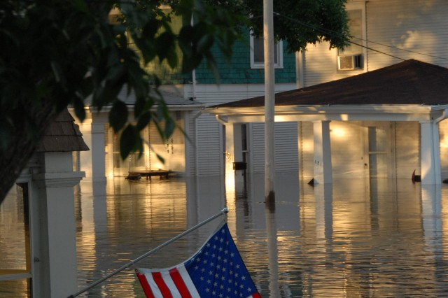 This is a view of downtown Cedar Rapids, Iowa, June 13, 2008. Soldiers throughout the Midwest are assisting with evacuations, search and rescue, security, sandbagging, generator support, providing emergency drinking water, removing debris and repairing damaged infrastructure.