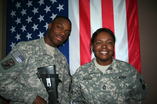 On a surprise trip from Iraq, Spc. Anthony W. Avant, Jr., 19, visited his mother, Master Sgt. Veronica L. Avant, at Camp Arifjan, Kuwait. He serves in Mosul with the 137th Quarter Master Company and she serves with the 311th Sustainment Command (Expeditionary) in Kuwait.