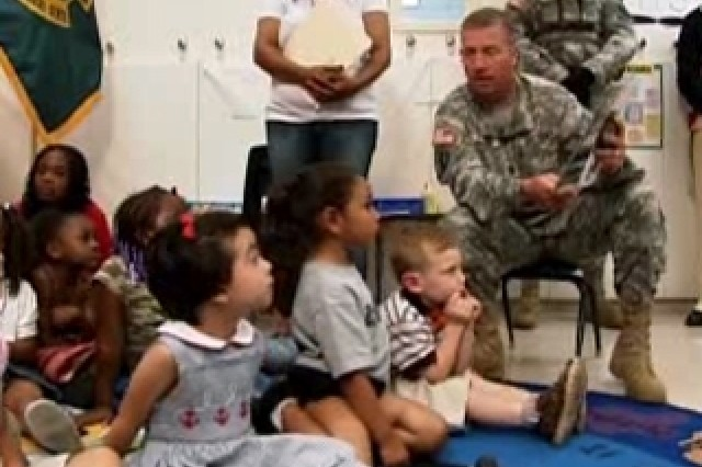 Sgt. Maj. of the Army Ken Preston with students