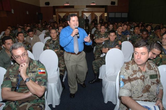 Dr. Luis Ramirez of the Western Hemisphere Institute for Security Cooperation (WHINSEC) gives a briefing on human rights to participants of Peacekeeping Operations North 08 in Managua, Nicaragua on 13 June. PKO North is a multinational command post exercise co-directed by U.S. Army South and the Army of Nicaragua.