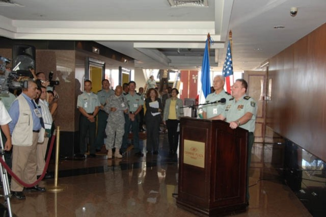 Nicaragua Army Maj. Gen. Ramon Humberto Calderon-Vindell answers questions alongside U.S. Army South deputy commander, Brig. Gen. Manuel Ortiz, during a press conference for Peacekeeping Operations North 08 in Managua, Nicaragua on 10 June. PKO North is a multinational command post exercise co-directed by U.S. Army South and the Army of Nicaragua.