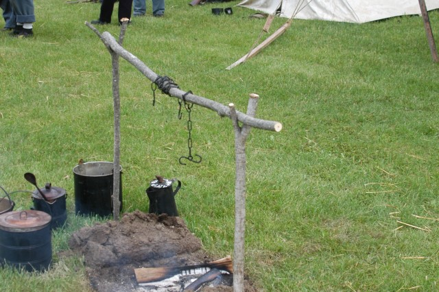 An example of a Civil War-era Union Army camp was presented during a living history timeline at Fort Drum June 14 which presented the dress and weapons of warriors from Fort Drum's history.