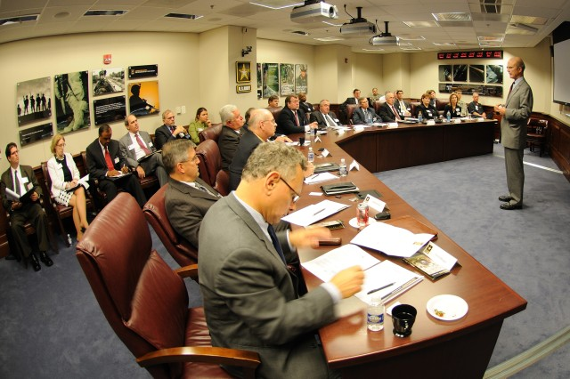 Secretary of the Army Pete Geren spoke with 31 CEOs and CFOs from the Business Council of New York State at the Pentagon June 18. The business leaders were briefed on Army communications strategy, reset and homeland defense.