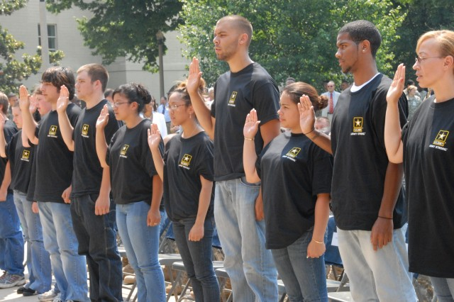 Future Soldiers are sworn into the Army by Gen. George W. Casey Jr., chief of staff of the Army, during celebrations on June 13 for the Army's birthday. While in the Delayed Entry Program, future Soldiers - and active-duty Enlisted Soldiers - can receive up to $2,000 for referring other new recruits into the Army through the Army Recruiter Assistance Program.