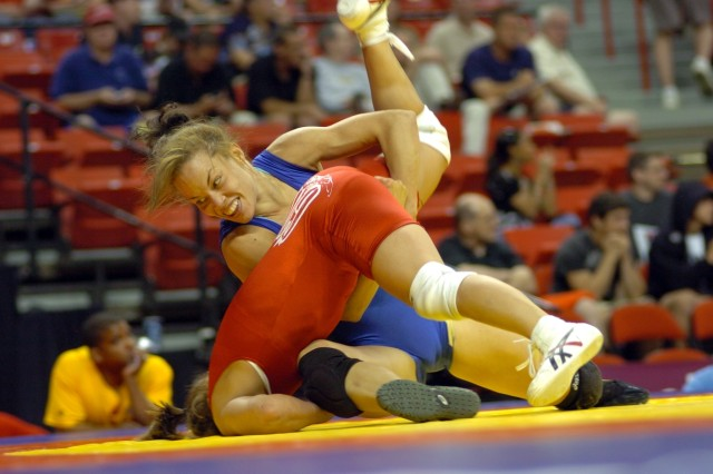 U.S. Army World Class Athlete Program 1st Lt. Leigh Jaynes wrestles Sunkist Kids' Tatiana Padilla in the women's 55-kilogram freestyle semifinals of the 2008 U.S. Olympic Team Trials for Wrestling June 13 at the University of Nevada, Las Vegas' Thomas & Mack Center.