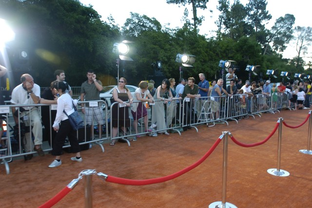 """Members of the media wait for a chance to speak with celebrities along the """"red"""" carpet at the premier of the Disney/Pixar motion picture Wall-e at the Greek Theater in Los Angeles, Ca."""""""