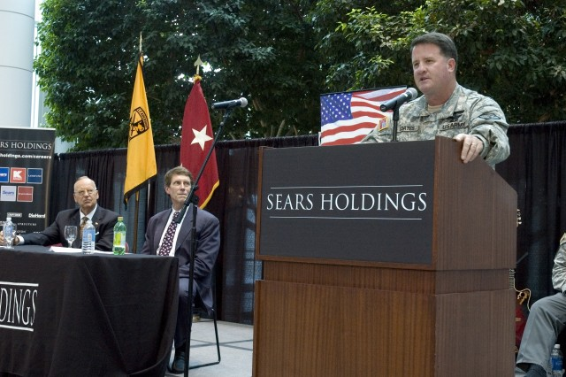 COL James P. Coates, Commander 9th Brigade, addresses the audience during a ceremony for the signing of a Statement of Support for the National Guard and Reserve, at the Sears Holding Corporation in Hoffman Estates, IL, June 25, 2008.