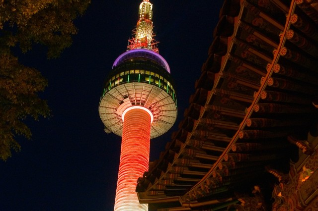 Seoul Tower at night