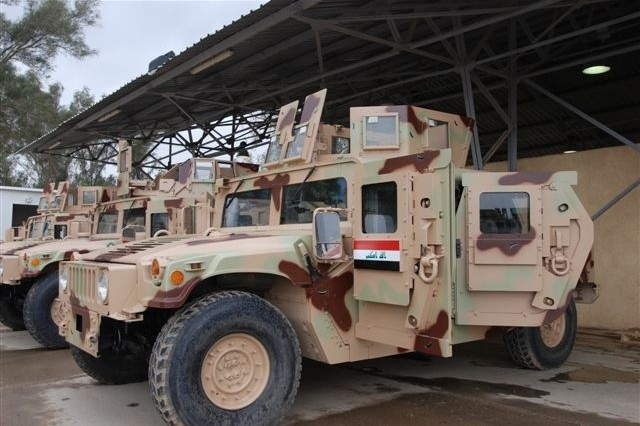 The Iraqi army recently took ownership of 8,500 refurbished Humvee vehicles. In addition to new vehicles, the army procured 80,000 new M-16 rifles and more than 12,000 Single-Channel Ground-Air Radio Systems, or SINGARS radios. The systems have been procured either through the Iraqi Security Forces Fund, or through foreign military sales. The Iraqi army, now nearly 180,000 soldiers strong, has grown 60 percent in the last year.  The army is growing in both capacity and capability.